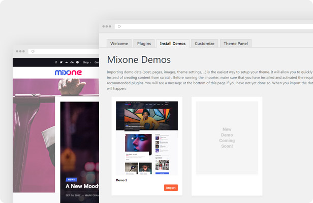 Mixone WordPress Theme - One Click Demo Import