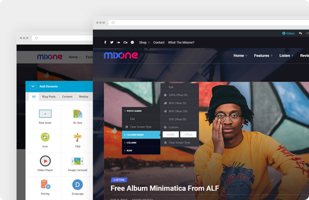 Mixone WordPress Theme - Page Builder